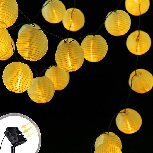 Farolillos Solares Exterior, Yizhet 6M/19,7ft LED Guirnaldas Luces Exterior Farolillos Solares de 30 LED Luminosa Impermeable Decoración Exterior y Interior para Casa,Fiesta,Boda,Jardín(Blanco Cálido): Amazon.es: Iluminación