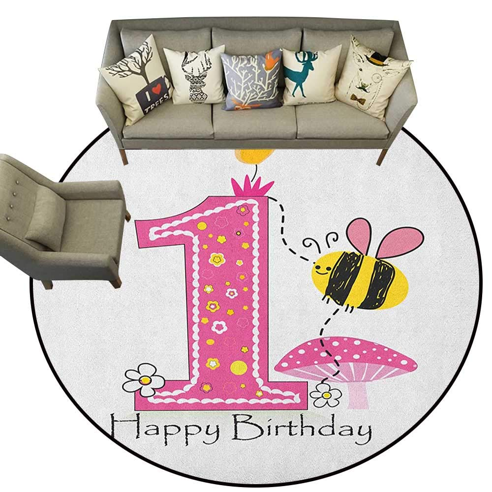 Style07 Diameter 72(inch& xFF09; 1st Birthday,Personalized Floor mats Baby First Party Festive Cake with Forest Fruits and Candlestick Image Print D54 Floor Mat Entrance Doormat