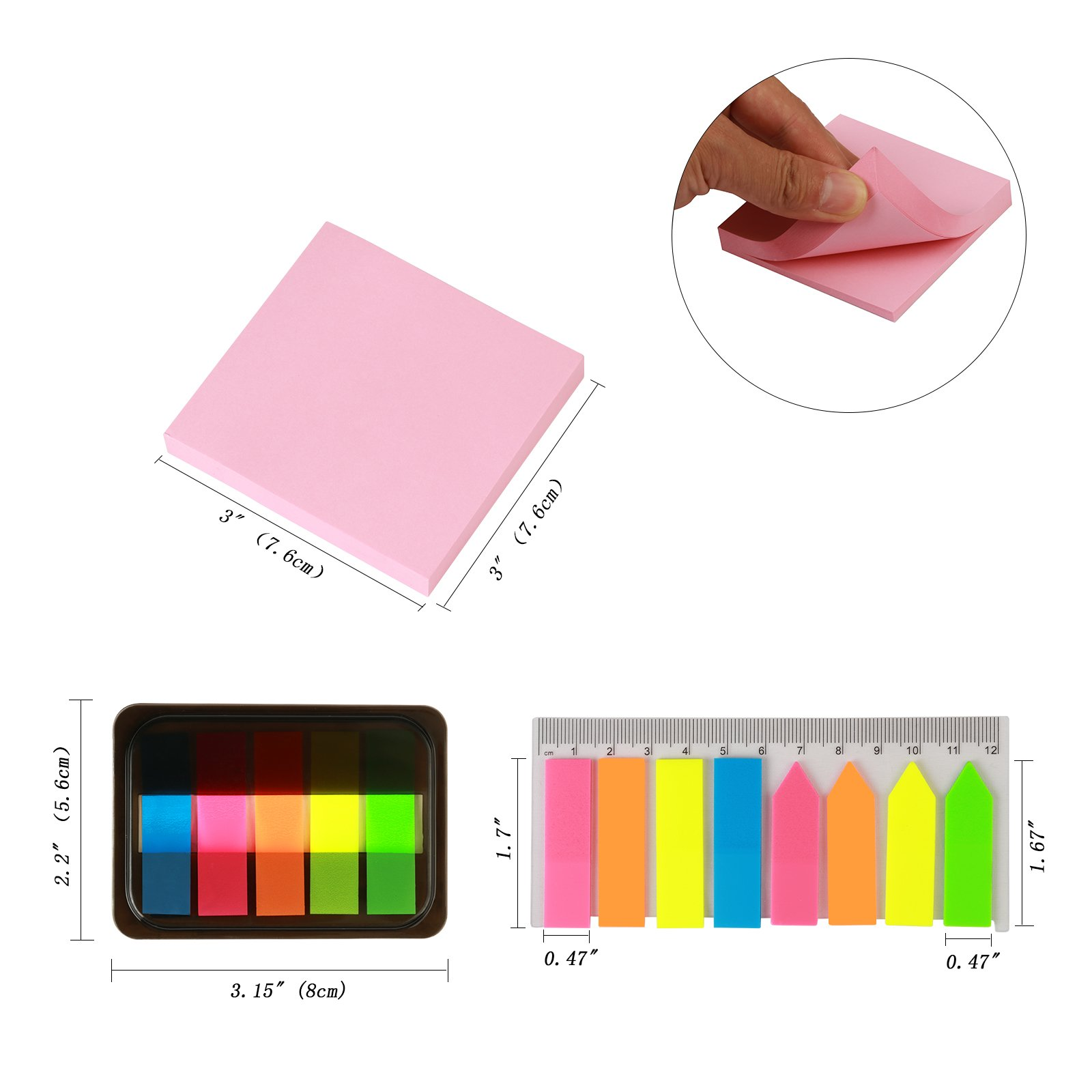 LANMOK 2640 pcs Sticky Notes Neon Pop-up Index Tabs Translucent Page Marker with Rectangular Ruler for Office Home Notebook Document