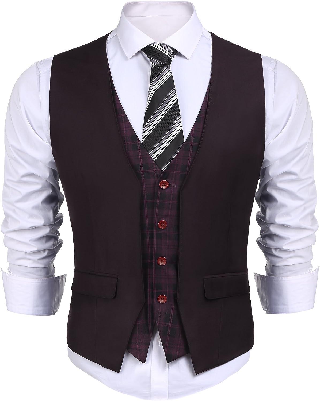 COOFANDY - Chaleco para hombre, estilo informal, ajustado, a cuadros, para boda, negocio, fiesta, color burdeos