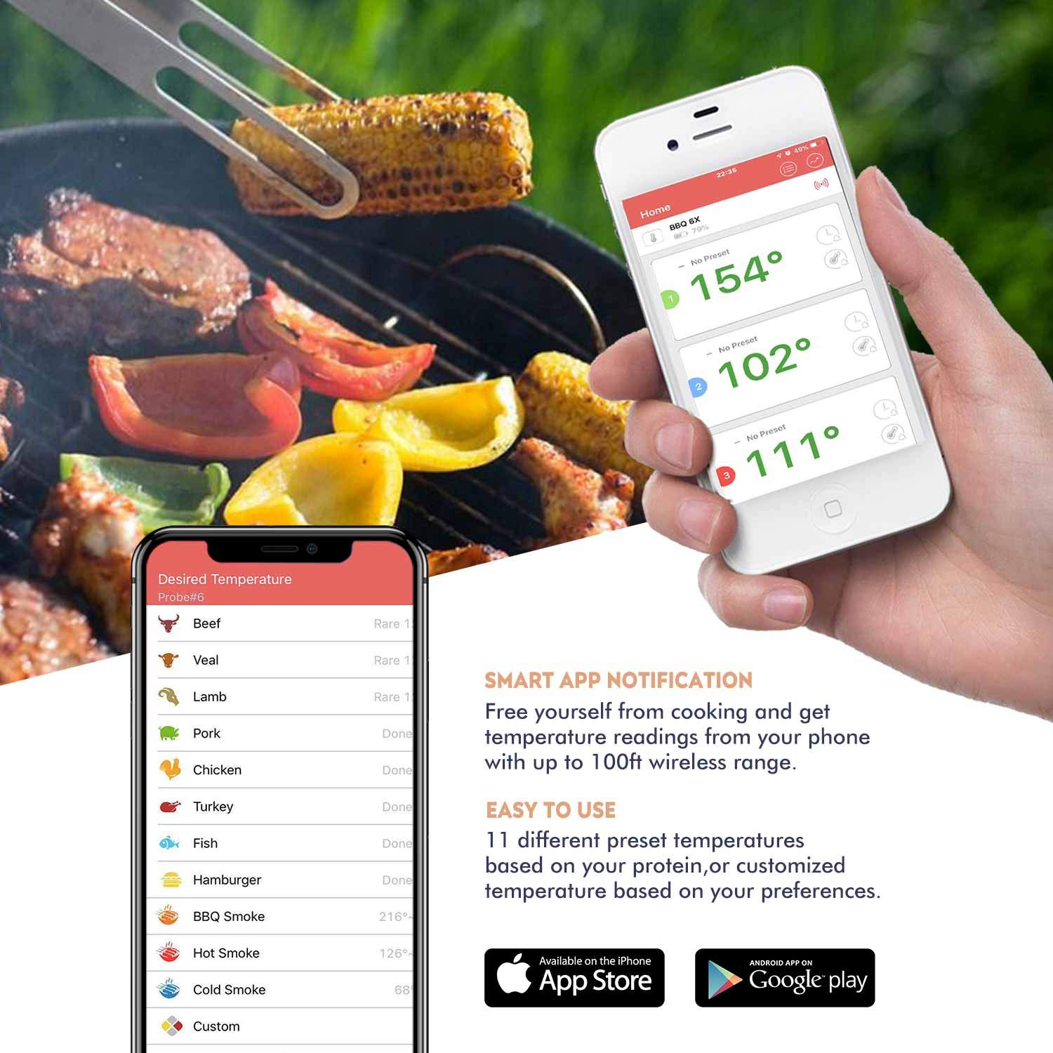 Newkiton Smart Wireless Meat Thermometer with 6 Stainless Steel Probes APP Controlled Bluetooth Digital Thermometer for Cooking Smoker Grill Barbecue Oven Kitchen Support iOS /& Android