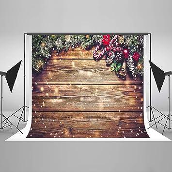 KateHome PHOTOSTUDIOS 2,2x1,5m Foto de Fondo de Navidad Fondo de Madera Foto