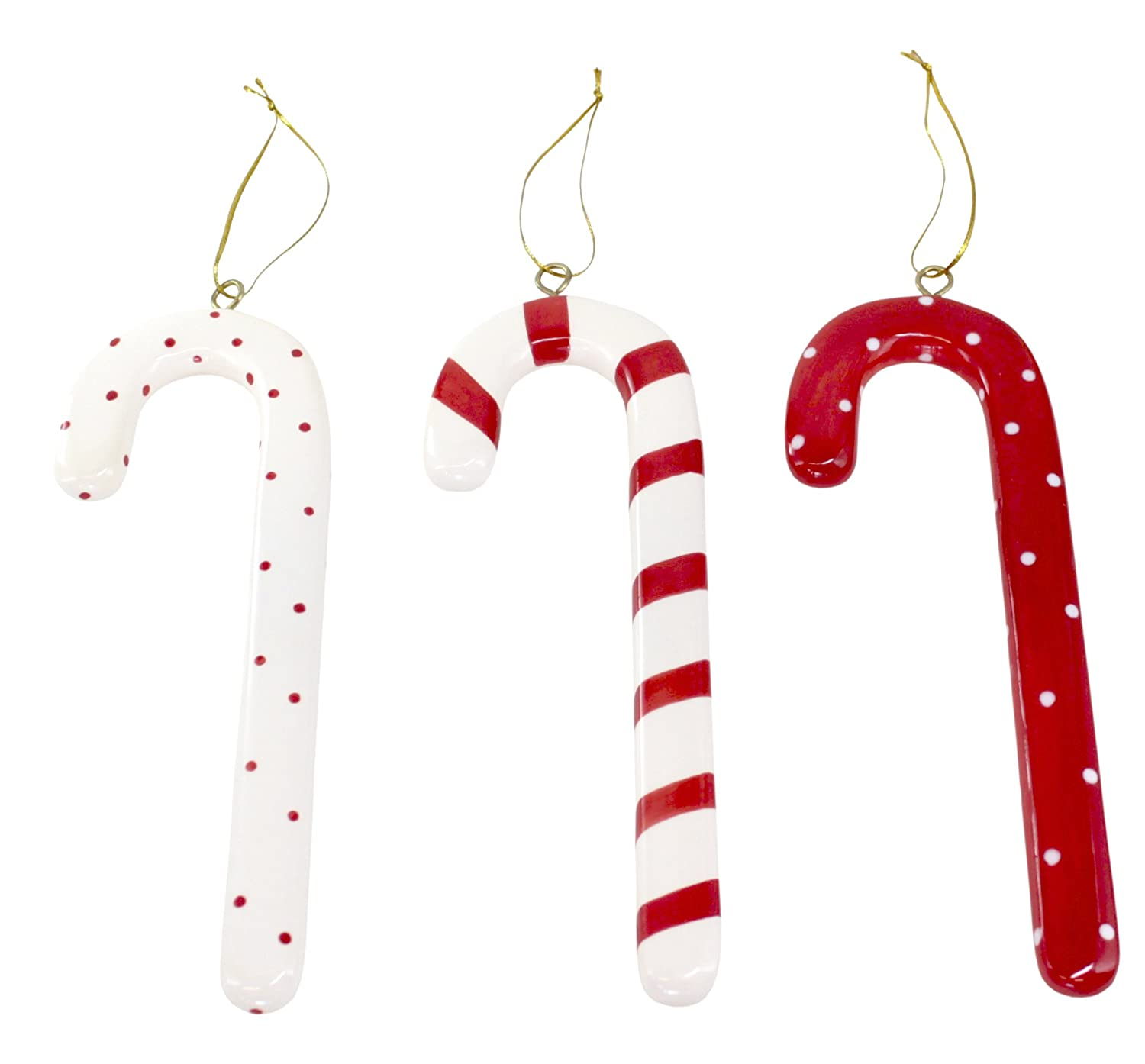 Sally Foster Gift Wrap Part - 29: Amazon.com: SALLY FOSTER Ceramic Candy Cane Ornaments - Set Of 3: Home U0026  Kitchen