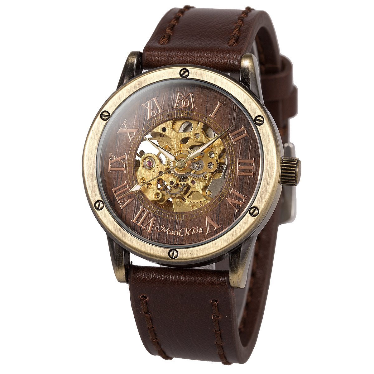 Skeleton Automatic Mechanical Steampunk Watches - ManChDa Men's Big Case 47MM XL Crystal Wrist Watch + Gift Box (7.Brown Burlywood dial)