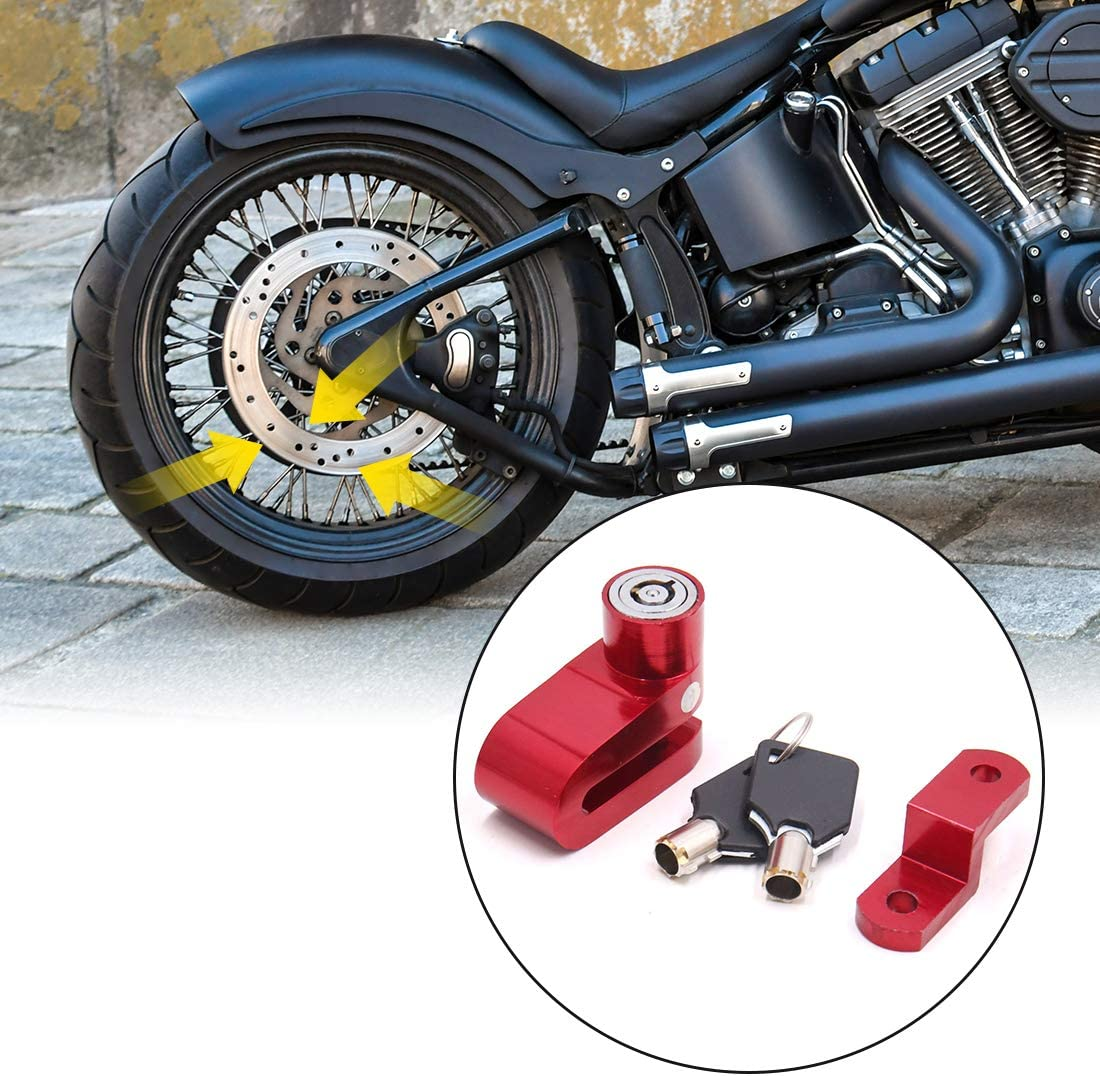 uxcell Red Aluminum Alloy Round Head Anti-theft Motorcycle Disc Lock Replacement with 2 Keys