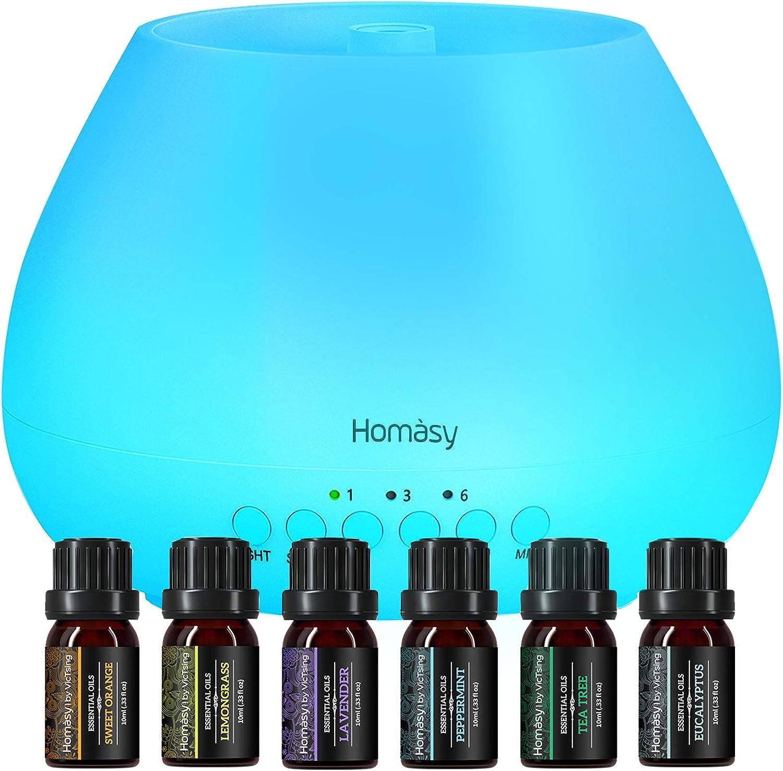 Homasy 500ml Difusor de Aromas, Set de 6 Aceites Esenciales, Luz Nocturna de 8 Colores con Ajuste de Temporizador, para Dormitorio, Sala de Estar, (Sin BPA), Blanco