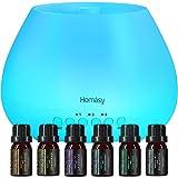 Homasy 500ml Difusor de Aromas, Set de 6 Aceites Esenciales, Luz Nocturna de 8 Colores con Ajuste de Temporizador, para…