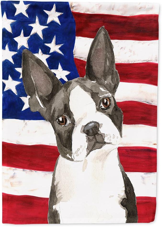 Caroline's Treasures CK1738GF Patriotic USA Boston Terrier Flag Garden Size, Small, Multicolor