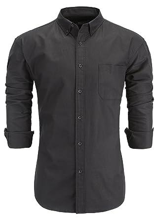147e9e69eb1 Emiqude Men s 100% Cotton Slim Fit Long Sleeve Solid Oxford Dress Shirt  Small Black