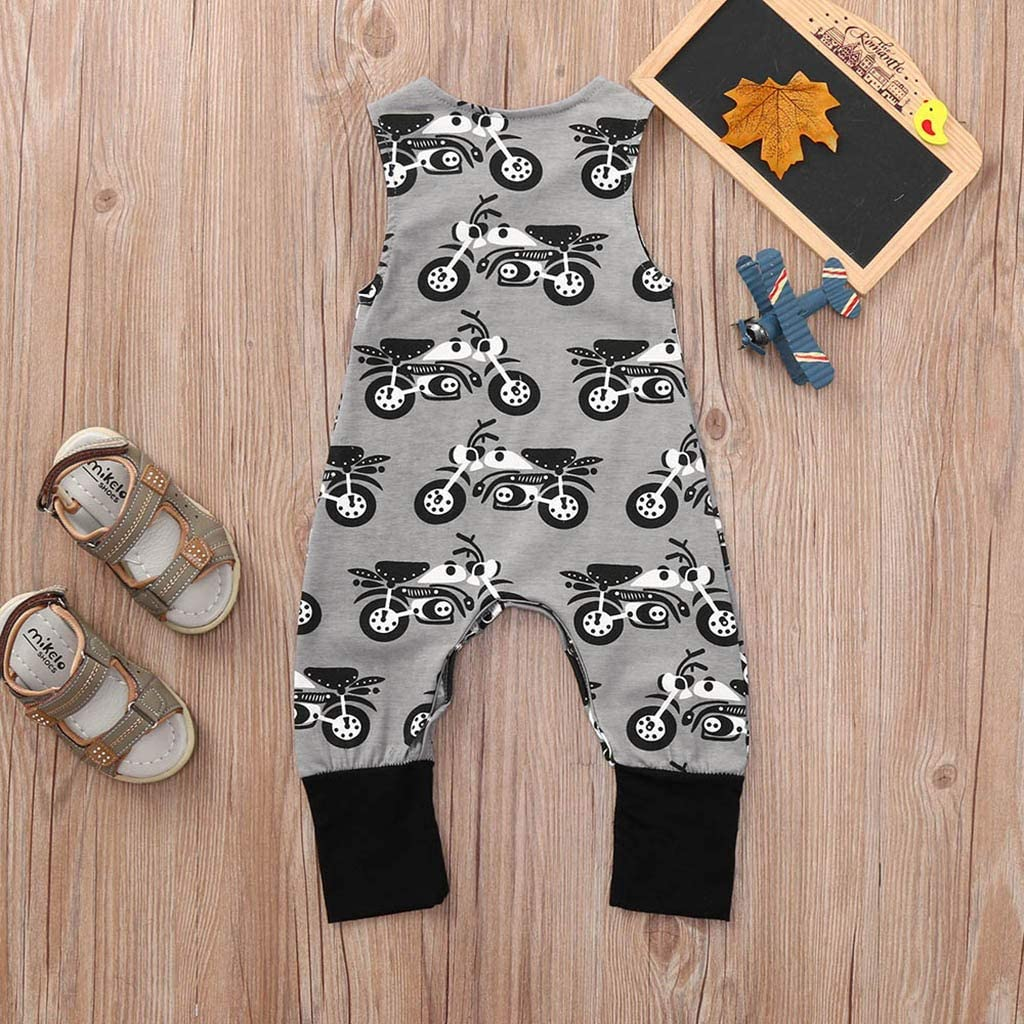 H.eternal Baby Romper Jumpsuit Bodysuit Boy Girl Cute Car Print Sleeveless Outfits Coveralls Sleepsuit Costume One Piece Bodysuit Footless Sleep and Play Playsuit Clothes