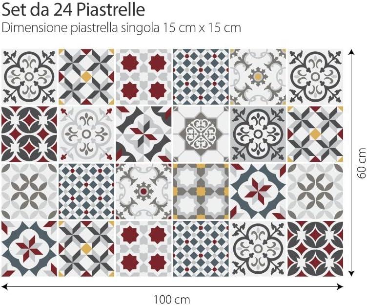 PS00166 Adhesivo Decorativo para Azulejos para ba/ño y Cocina Stickers Azulejos Adhesivo para Azulejos 15x15 cm 24 Piezas Leopoli Collage de Azulejos