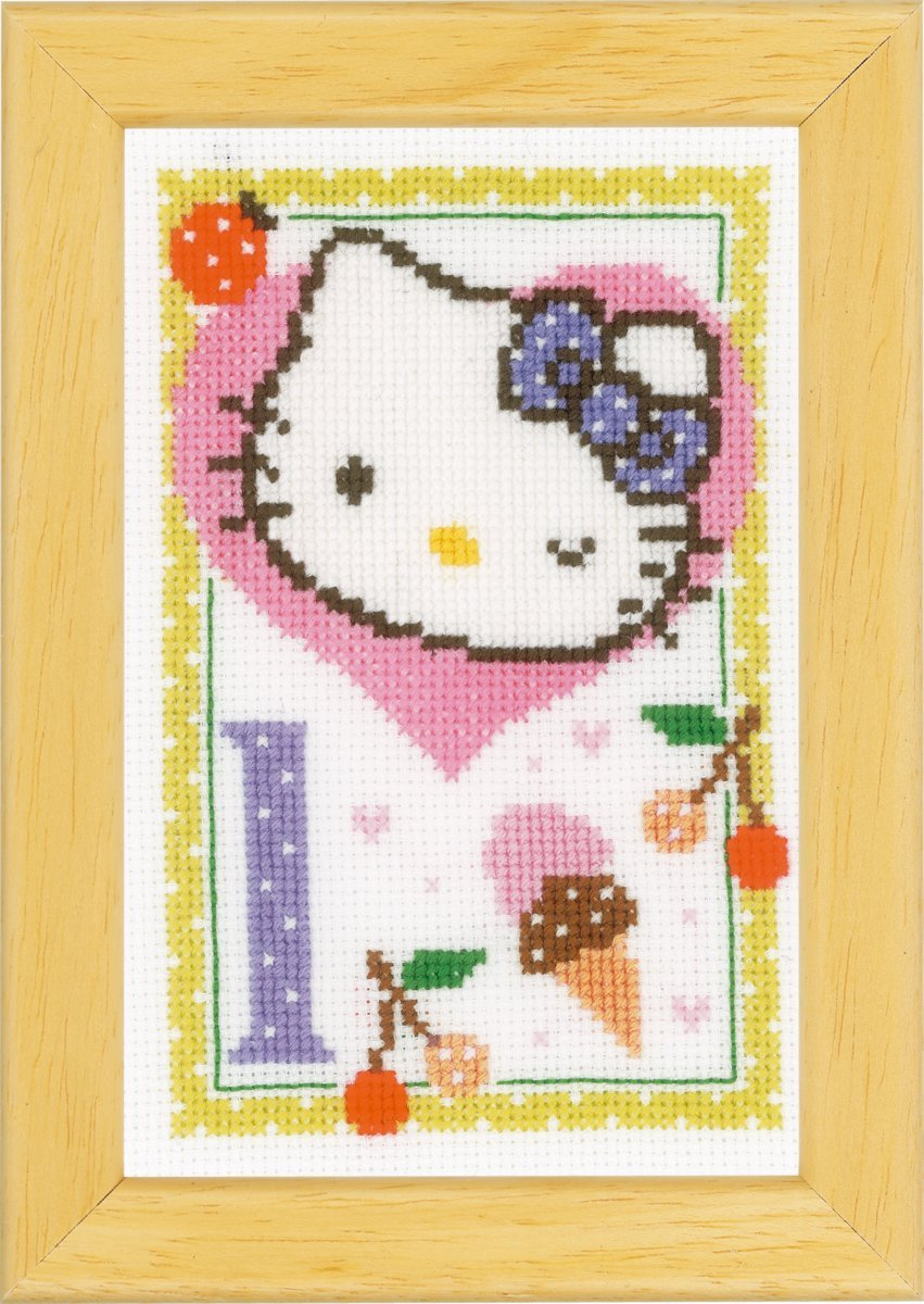 Multi-Couleurs Kit Point De Croix Compt/é Hello Kitty L Vervaco