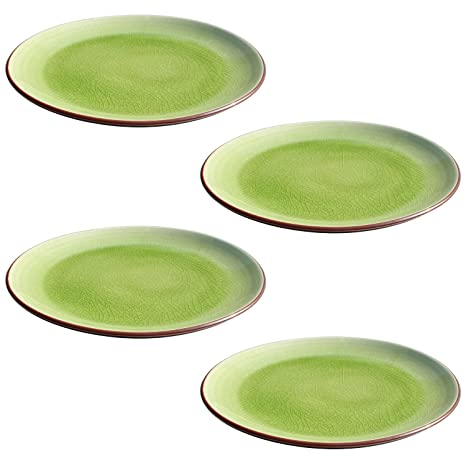 amazon com stoneware thick lime green crackle 10 inch dinner