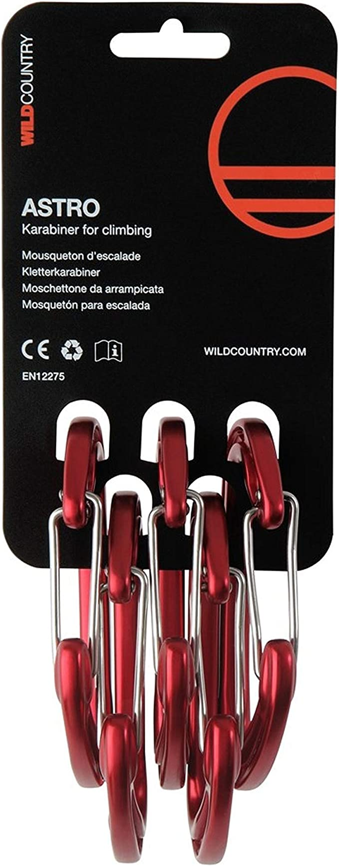 Wildcountry - Astro Anodised 5 Pack, Color Red