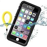 Temdan iPhone6/ iPhone6S用 防水 10m水深までに完全防水 防雪 防塵 薄型 耐衝撃 長持ち ランニング用 アイフォン6/6sケース 指紋認識可 キックスタンド フローティングストラップ 日本語取扱説明書付き 軽便のアイフォンケース6/6s 4.7インチ用(黒色&透明)