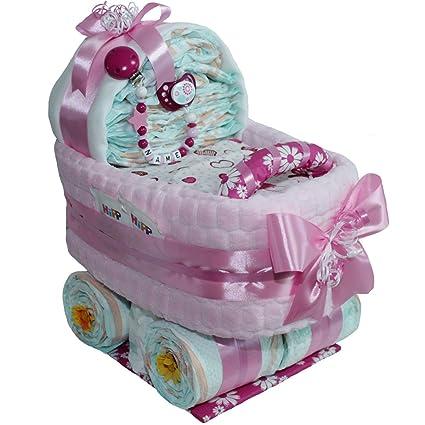 Gran pañales carro Baby Girl Incluye Cadena para chupete con o sin nombre regalo para