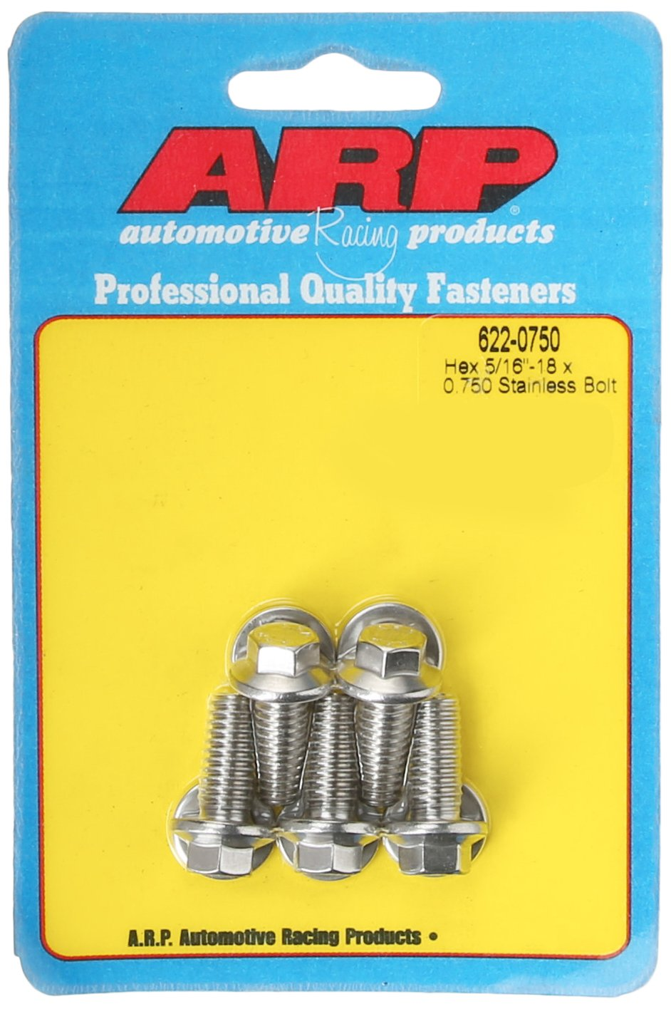 ARP 6220750 5-Pack Of Stainless Steel Hex Bolts, Size 5/16-18, 0.750 Under Head Length 622-0750