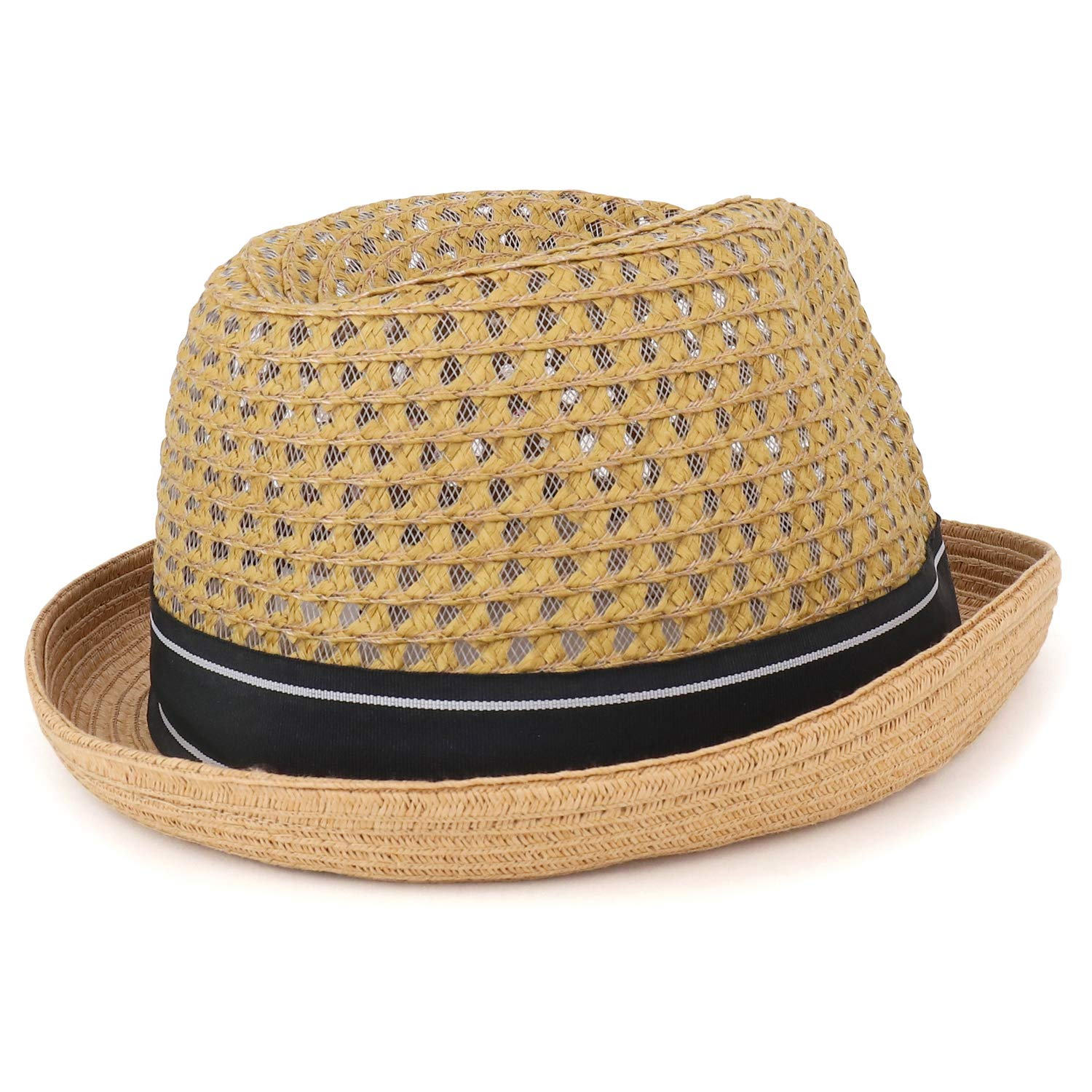Armycrew Cool Lightweight Paper Straw Fedora Hat with Feather and Ribbon Band