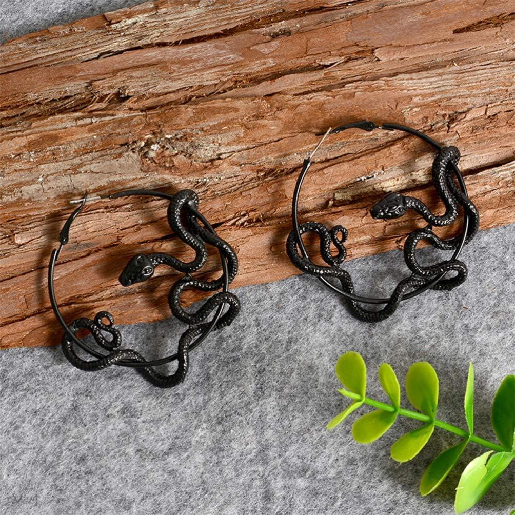 Black Happyyami 1Pair Antique Earrings Snake Ear Stud Punk Ear Stud Chic Ear Jewelry