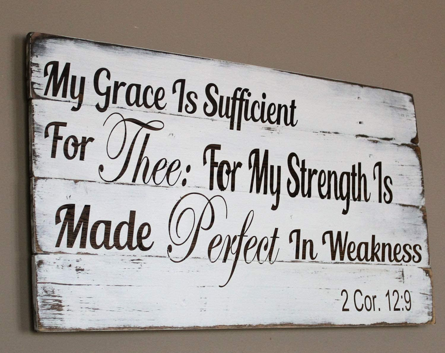 Mao 38x53cm, My Grace is Sufficient for Thee Pallet Sign 2 Corinthians 12 9 Bible Verse Wall Art Christian Decor Wood Scripture Wall Hanging 841610