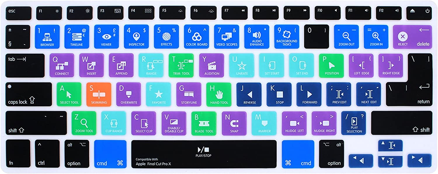 HRH Final Cut Pro X Shortcuts Hotkey Silicone Keyboard Cover Skin for MacBook Air 13,for MacBook Pro13/15/17 (with or w/Out Retina Display,2015 or Older Version)&for iMac Older,USA and European