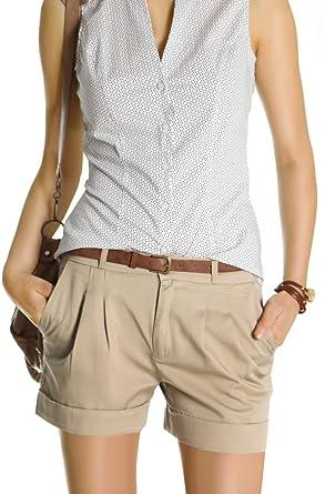 Bestyledberlin Damen Shorts Kurze Chino Hosen Damenhosen