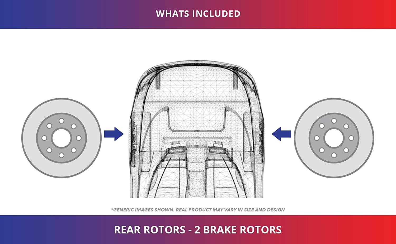 2 Black Coated Cross-Drilled Disc Brake Rotors Rear Rotors Heavy Tough-Series 5lug Fits:- C230 C240 SLK300 Crossfire