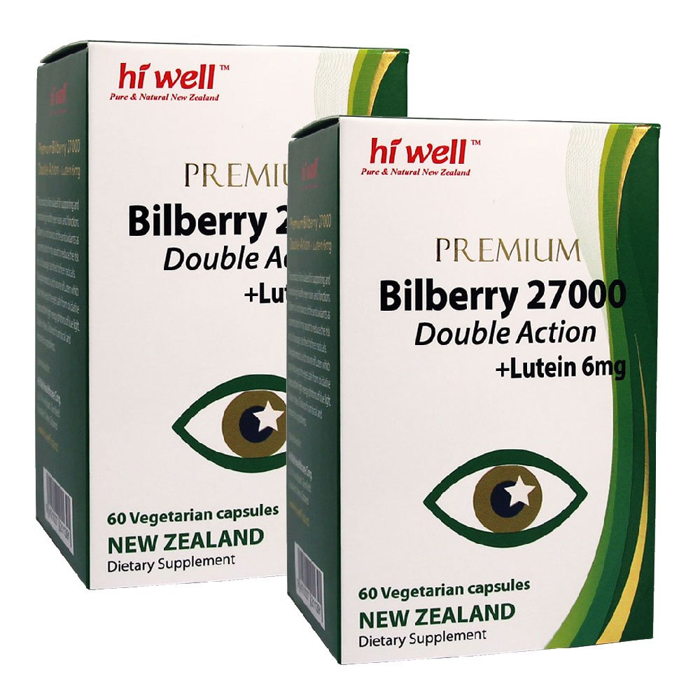 Hi Well Premium Bilberry 27000mg + Lutein 6mg Double Action 60 Vegetarian Capsules (Pack of 2)