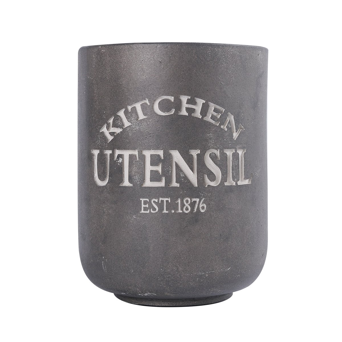 NIKKY HOME Resin Farmhouse Kitchen Utensil Crock Holder for Storage, 5.43 x 5.43 x 7.09 inches, Gray by NIKKY HOME