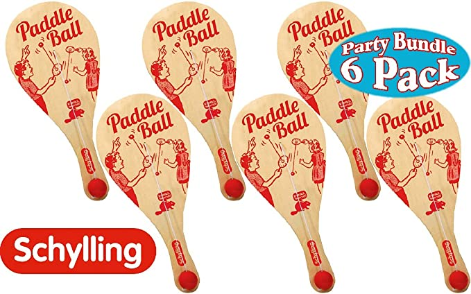 Amazon.com: Schylling Classic Wooden Paddle Ball Game Party ...