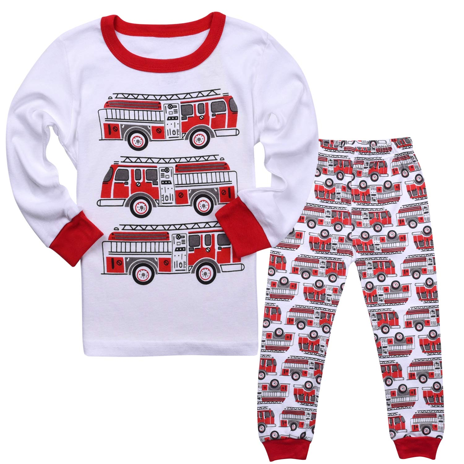 Tkala Fashion Boys Pajamas Children Clothes Set 100% Cotton Little Kids Pjs Sleepwear (3T, white2)