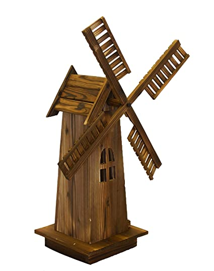 Wooden Dutch Windmill Back Yard Decorations Classic Old Fashioned Windmill For Garden Patio