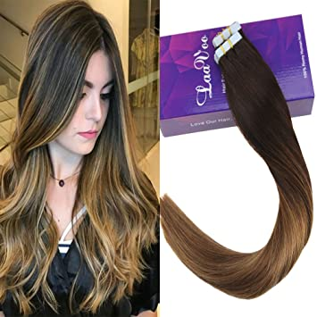Laavoo 18 Inch Balayage Highlight Color Dark Brown To Chesnut Brown And Golden Brown Skin Weft