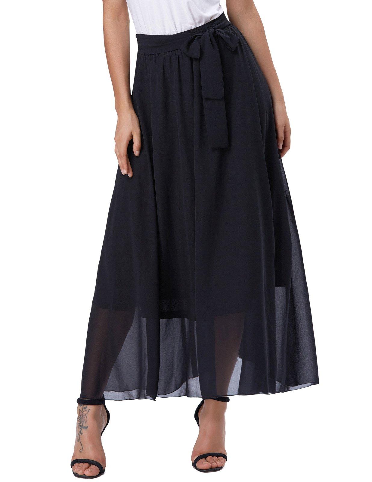 GRACE KARIN Women's Long Chiffon Tulle Skirt Floor Length Skirts Size M Black-1