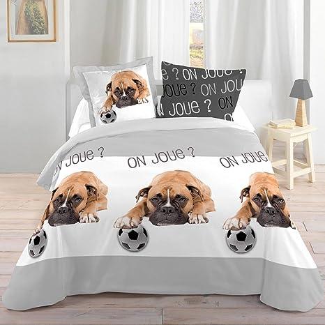 Juego de cama con diseño de perro y pelota de 140 x 200 cm