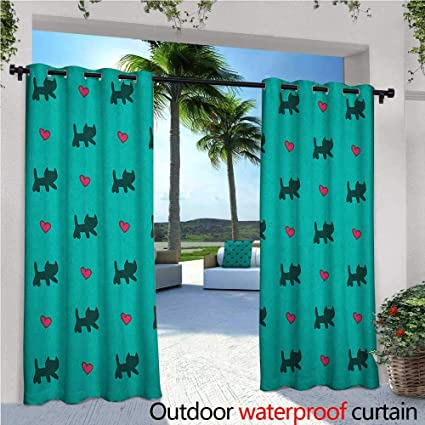 amazon com teal patio curtains cute kittens pink hearts lovely rh amazon com