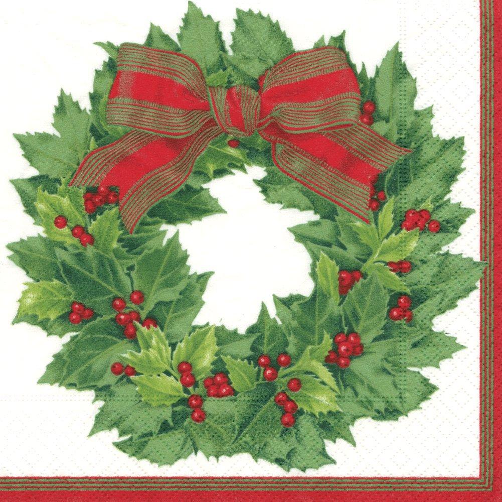 Holly Wreath Gold Entertaining with Caspari Cocktail Napkins 12071C Pack of 20 Caspari Inc
