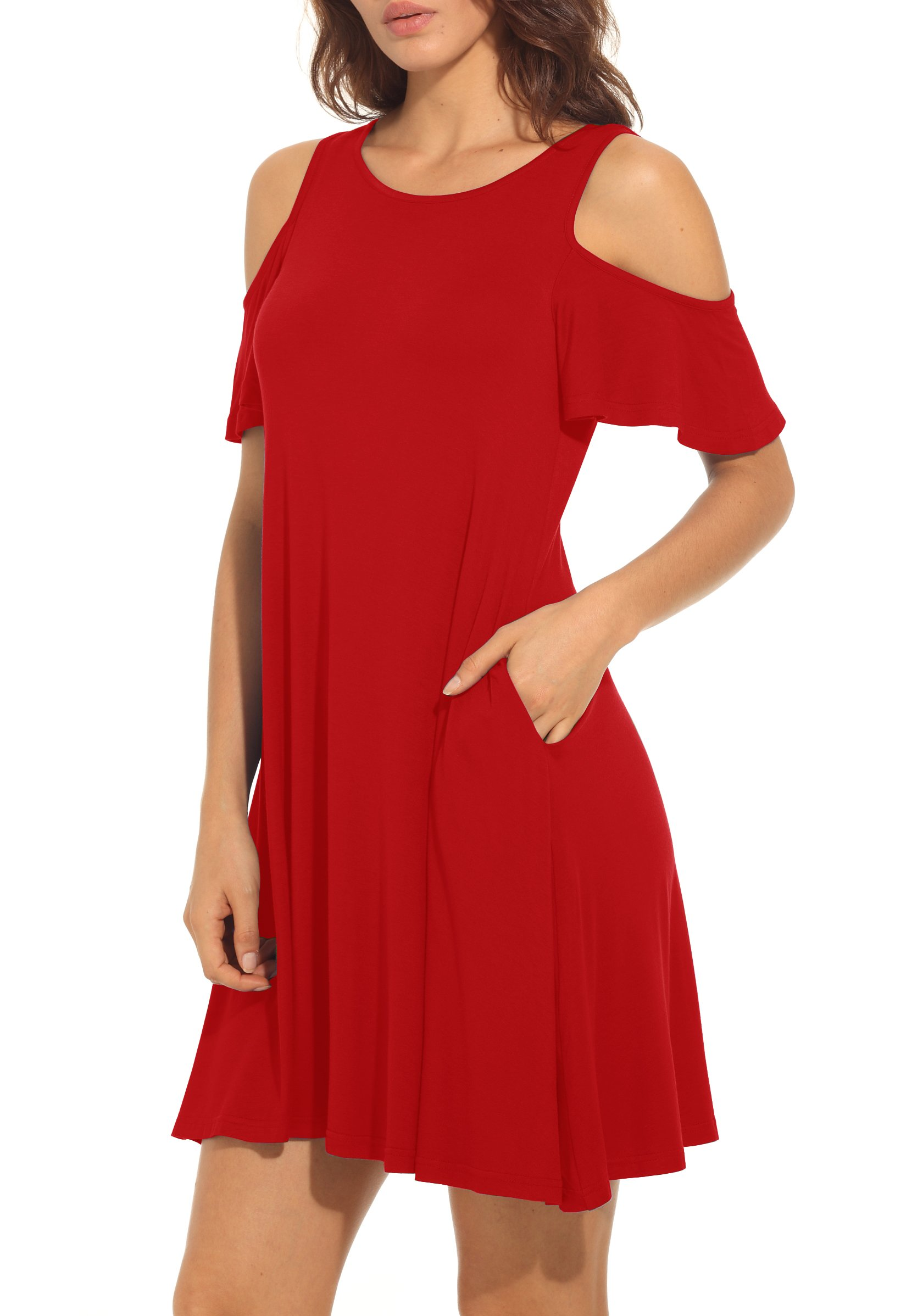 QIXING Women's Summer Cold Shoulder Tunic Top Swing T-Shirt Loose Dress with Pockets Red-M
