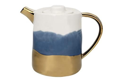 Creative Co-Op White Blue /& Gold Electroplated Ceramic Teapot Multicolored