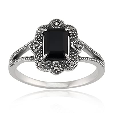 Mytysun Retro Vintage White Gold Plated Black Marcasite Crystal Fashion Dome Rings 18JWhk0