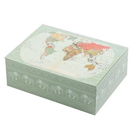 Creibo CBOX005 - Caja Cartón decorada Mapa Mundo