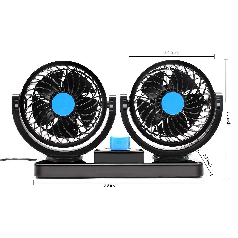 SUV Ventiler efficacement lair chaud la fum/ée ou les odeurs Afunti Ventilateur de voiture 12 V de 360 /° Rotation Ventilateur 2 Speed fort vent double ventilateur Puissance 6,5 W v/éhicules automobiles bateau RV