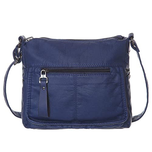a416ef2007bd0 Women 10 Pockets Soft Synthetic Leather Medium Crossbody Purse Shoulder Bag (Blue)