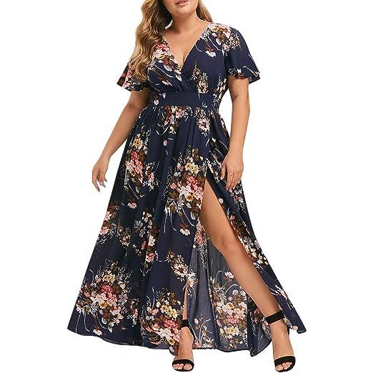 8e4696bc7f130 Amazon.com: Women's Dresses - Summer Boho Floral Wrap V Neck Maxi ...