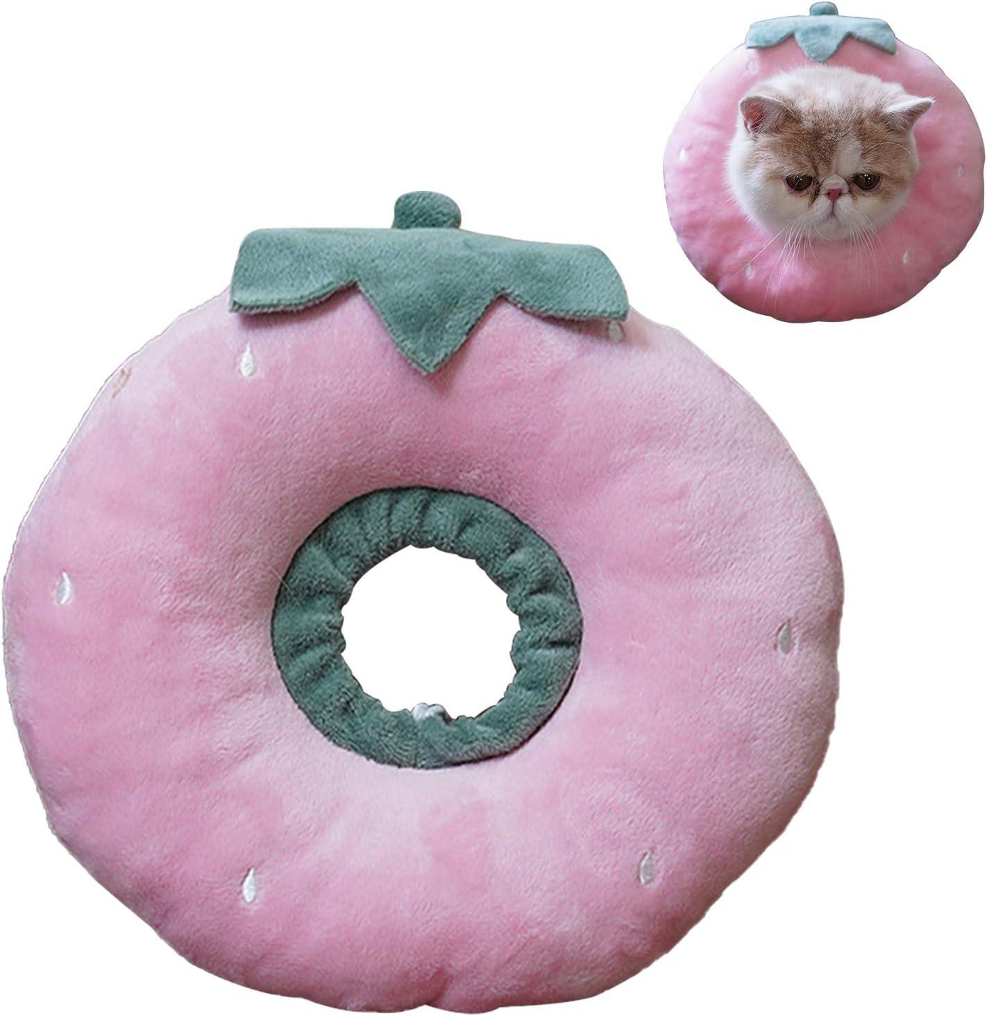 N\O Heiqlay Collar Isabelino Gato, Collar de RecuperacióN para Mascotas Borde Suave Ajustable Collar Anti Mordida de Borde Suave para Mascotas para Perros y Gatos (1 Pieza, Fresa, M)
