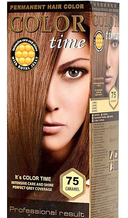 Color time, tinte permanente para el cabello de color caramelo 75