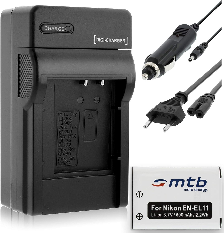 Coche//Corriente Ver Lista! Coolpix S550 // Olympus//Pentax Cargador Bater/ía para Nikon EN-EL11
