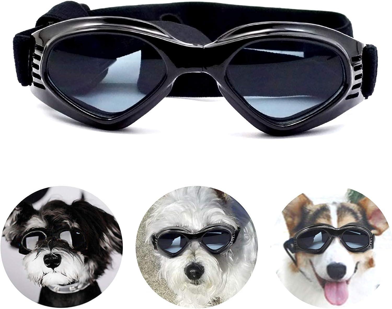 PEDOMUS - Gafas de Sol para Perros, Correas Ajustables para Gafas de Sol UV, protección Impermeable para Perros pequeños y medianos