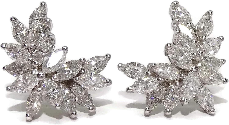 Pendientes de oro blanco de 18k con 30 diamantes talla navette que suman 3.00cts con cierre presión con presiones grandes para máxima seguridad.