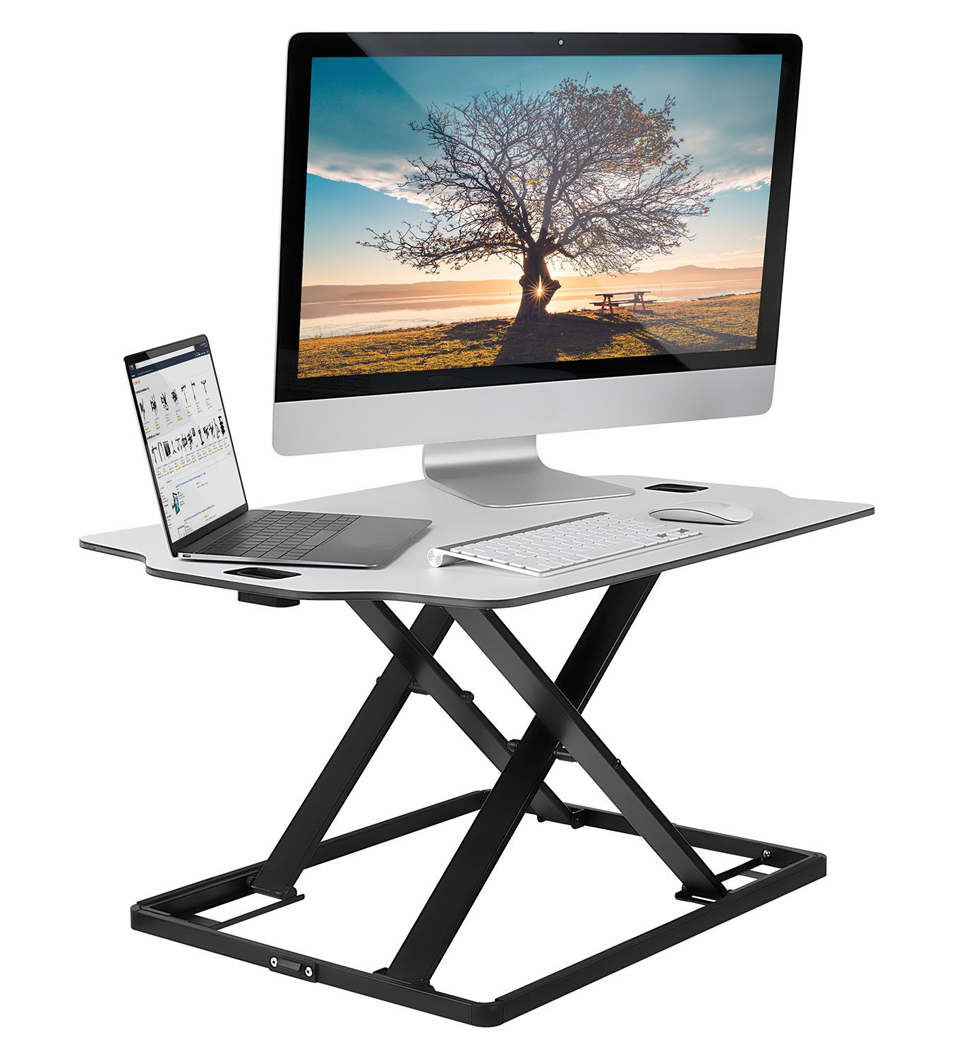 Mount-It! Stand Up Workstation with Dual Monitor Mount - Standing Desk Converter with Height Adjustable Keyboard & Counterbalance Monitor Arm FBA_MI-7904
